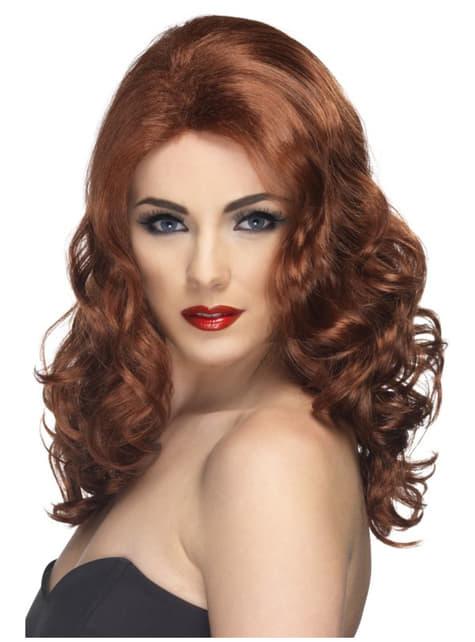 Peluca elegante ondulada castaña para mujer