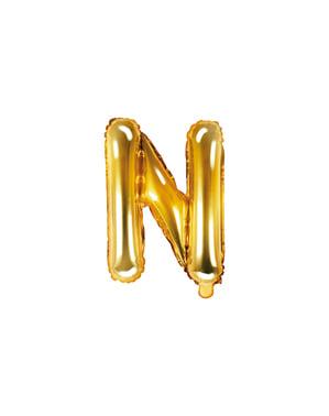 Letter N Foil Balloon in Gold