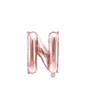 Balão em alumínio letra N rosa dourado