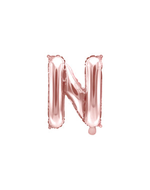 Letter N foil balloon in rose gold