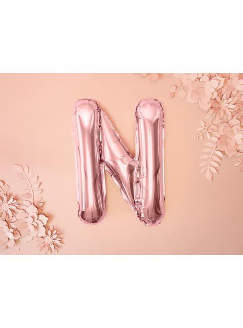 Globo foil letra N oro rosa - para tus fiestas