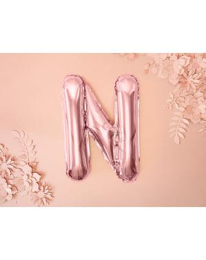 Palloncino di foil lettera N color oro rosa