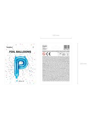 P-kirjaimen muotoinen foliopallo (sininen)