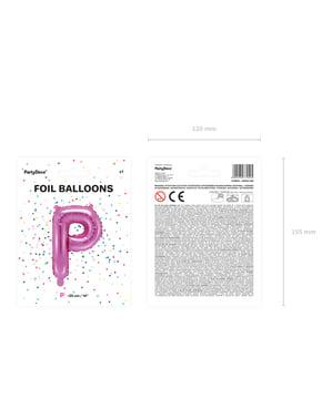 P-kirjaimen muotoinen foliopallo (tumma pinkki)
