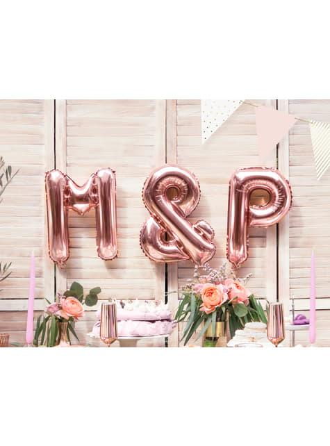 Globo foil letra P oro rosa - para tus fiestas