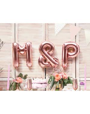 Balão em alumínio letra P rosa dourado