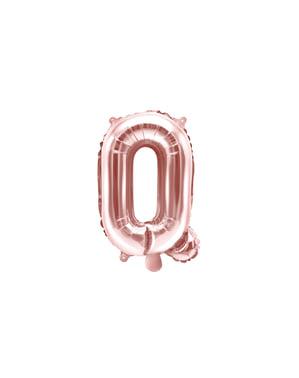 Balão em alumínio letra Q rosa dourado