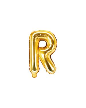 Złoty balon foliowy Litera R