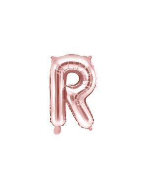 Globo foil letra R oro rosa