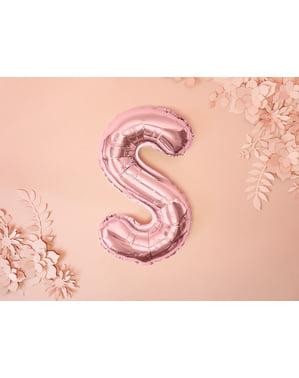 Letter S foil balloon in rose gold