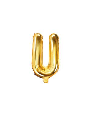 Letter U Foil Balloon in Gold (35cm)