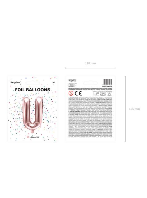 Globo foil letra U oro rosa (35 cm) - barato