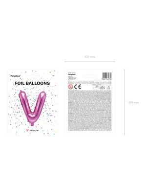 Letter V Foil Balloon in Donker Roze (35cm)