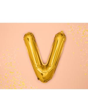 Letter V Foil Balloon in Gold (35cm)