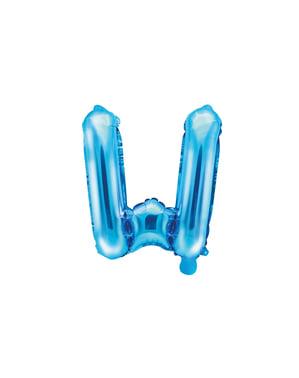 Letter W Foil Balloon in Blue (35cm)