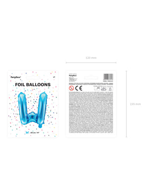Balão foil letra W azul (35cm)
