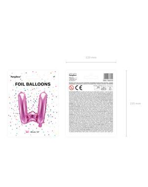 Letter W Foil Balloon in Dark Pink (35cm)