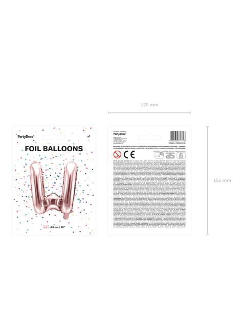 Globo foil letra W oro rosa (35 cm) - barato