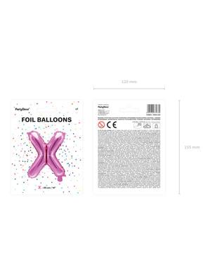 Ciemnoróżowy balon foliowy Litera X (35cm)