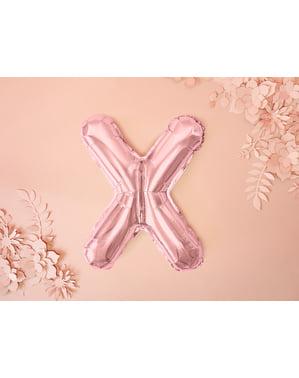 Balão em alumínio letra X rosa dourado  (35cm)