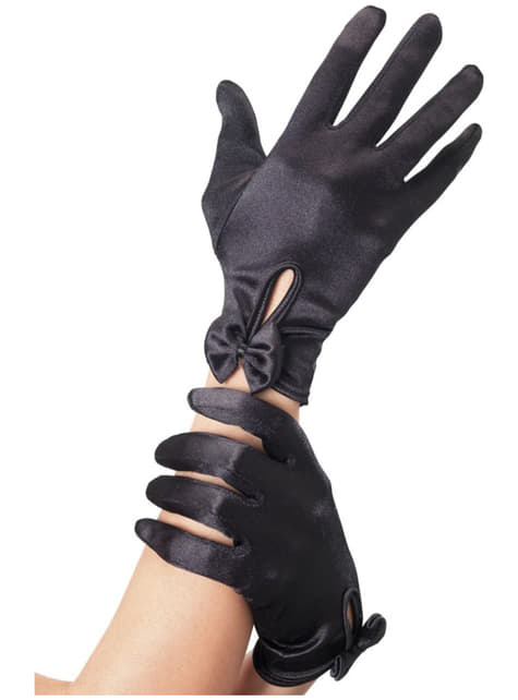 Czarne krótkie rękawiczki ze wstążką damskie