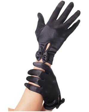 Korte zwarte handschoenen met strik voor vrouw