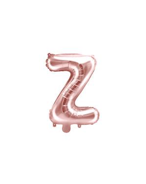 Balão em alumínio letra Z rosa dourado  (35 cm)