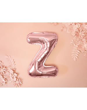Ballon aluminium lettre Z rose gold (35 cm)