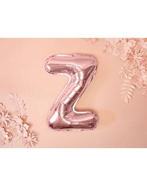 Letter Z Foil Balloon in Rose Gold