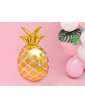Foil balloon of a gold pineapple - Aloha Turquoise