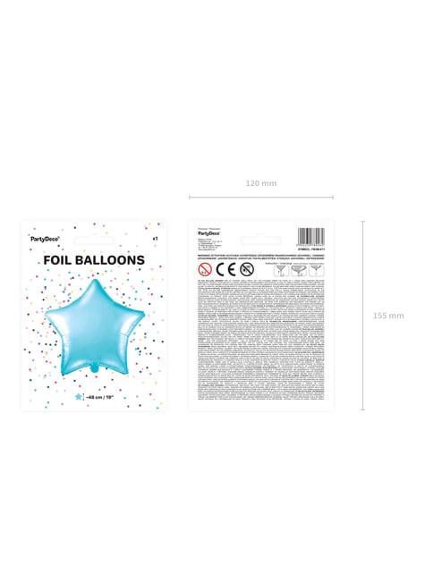 Globo de foil con forma de estrella azul cielo - para tus fiestas