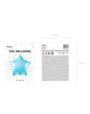 Ballon aluminium en forme d'étoile bleu ciel