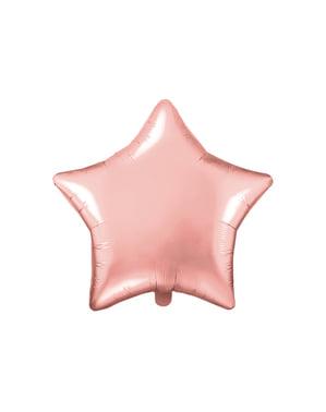 Balão em alumínio em forma de estrela ouro rosa