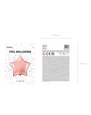 Ballon aluminium en forme d'étoile rose gold
