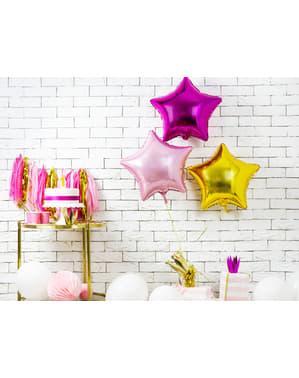 Balão em alumínio em forma de estrela cor-de-rosa claro