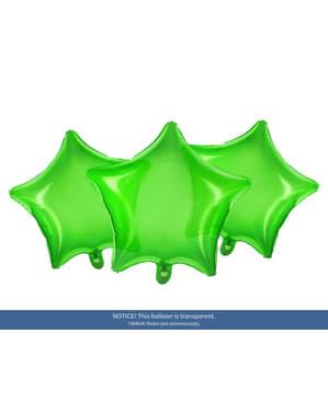 Ballon aluminium en forme d'étoile vert