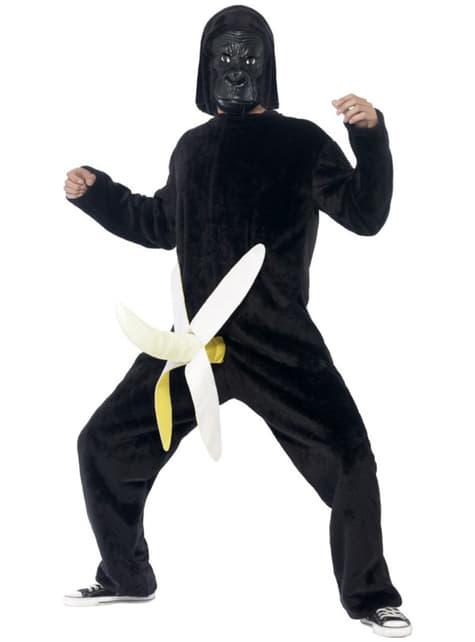 Disfraz de gorila con plátano para hombre