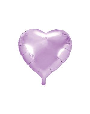 Sydämenmuotoinen folioilmapallo vaaleanliilana