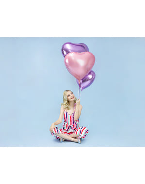 Foil balloon in the shape of a heart in light lilac