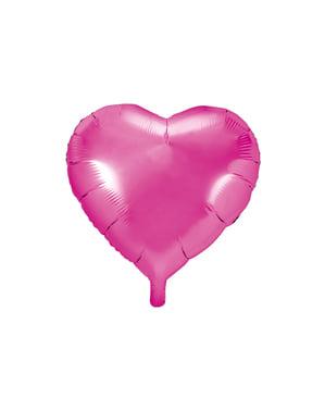 Sydämenmuotoinen folioilmapallo tummanpinkkinä