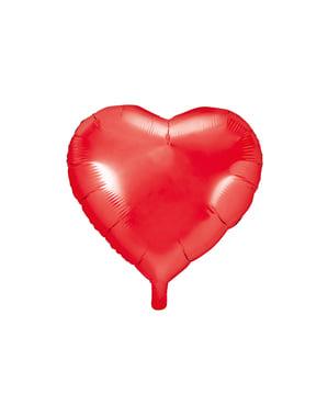 Globo de foil 45 cm con forma de corazón rojo