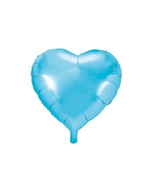 आसमानी नीले रंग में दिल के आकार में पन्नी गुब्बारा