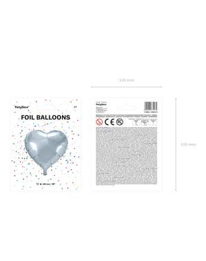 Sydämenmuotoinen foliopallo, hopeanvärinen, 45 cm