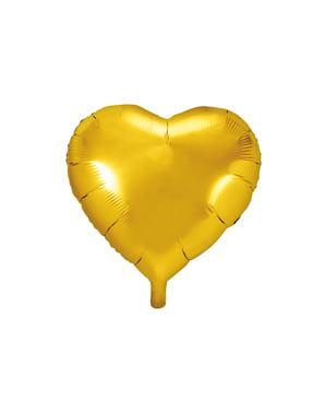 Sydämenmuotoinen foliopallo, kullanvärinen, 45 cm