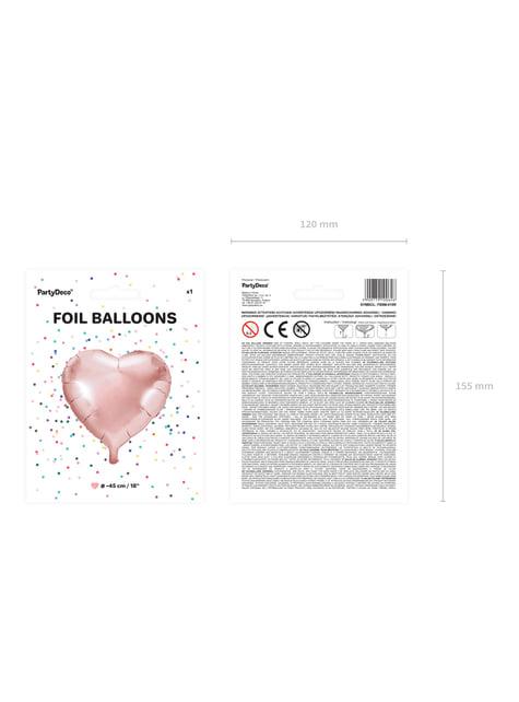 Folieballon i form af et hjerte i roseguld (45 cm)