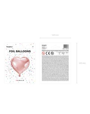 Balão em alumínio em forma de coração ouro rosa (45 cm)