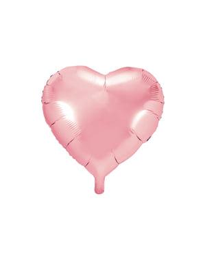 Globo de foil  45 cm con forma de corazón rosa claro