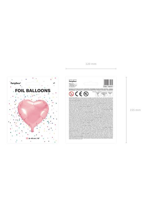 Balão de foil  45 cm com forma de coração rosa claro