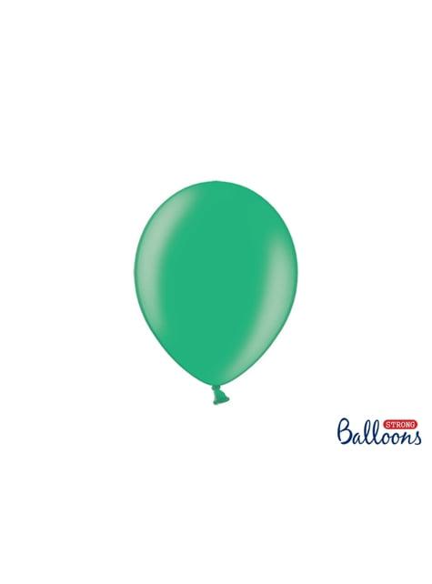 50 globos extra resistentes verde metalizado (23 cm)