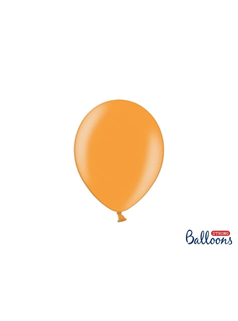 50 globos extra resistentes naranja claro metalizado (23 cm)